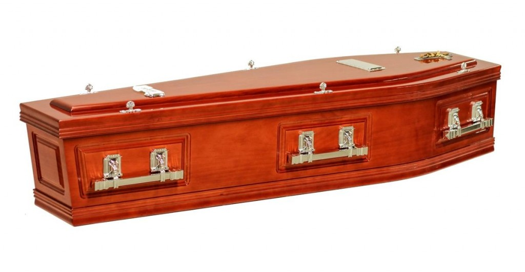 The SRL Side Panel Maple Coffin is available at Stan Crapp Funerals Kiama with these features: Includes six square swing bar handles in chrome or gold Interior lined with satin edged with a braid trim