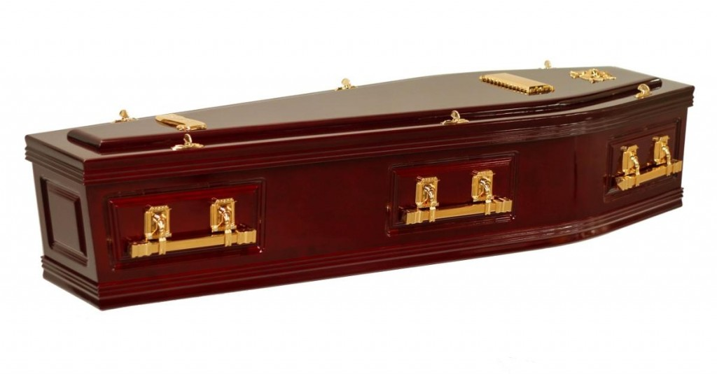You can find the SRL Side Panel Rosewood Coffin at Stan Crapp Funerals Kiama with these features: Includes six square swing bar handles in chrome or gold Interior lined with satin edged with a braid trim